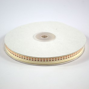 Multi Colour Triple Stitch Ribbon 12mm Ivory (22.8 Metres)