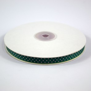 Ribbon with Squares Pattern 12mm Hunter Green with Pink (22.8 Metres)
