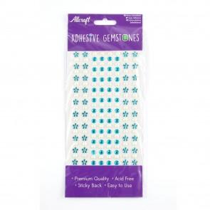 Adheisve Gemstones Flowers & Pearls Blue (164 Pieces)