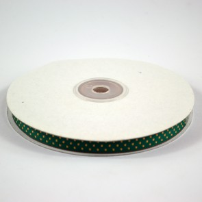 Ribbon with Squares Pattern 12mm Holly Green with Gold (22.8 Metres)