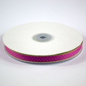 Ribbon with Squares Pattern 12mm Cerise with Blue (22.8 Metres)
