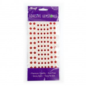 Adheisve Gemstones Flowers & Pearls Red (164 Pieces)