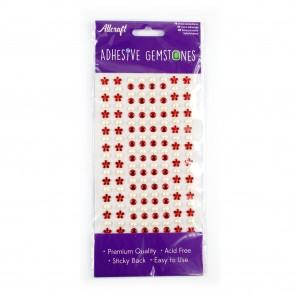 Adheisve Gemstones Flowers & Pearls Red (164 Pieces)