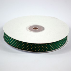 Ribbon with Squares Pattern 18mm Holly Green with Gold (22.8 Metres)