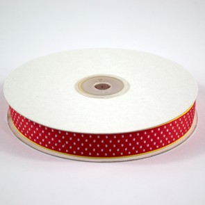 Ribbon with Squares Pattern 18mm Red with White (22.8 Metres)