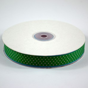Ribbon with Squares Pattern 18mm Hunter Green with Pink (22.8 Metres)
