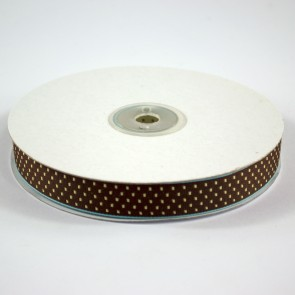 Ribbon with Squares Pattern 18mm Brown with Gold (22.8 Metres)