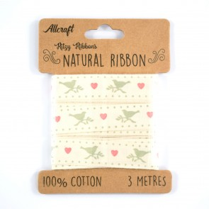 Cotton Ribbon 15mm Dotted Dove (3 Metres)