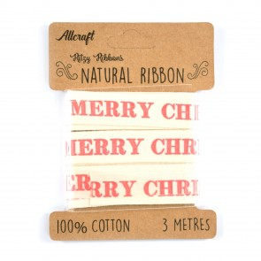 Cotton Ribbon 15mm Merry Christmas Red (3 Metres)