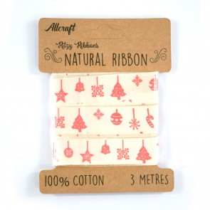 Cotton Ribbon 15mm Red Ornaments (3 Metres)
