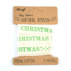 Cotton Ribbon 15mm Merry Christmas Green (3 Metres)