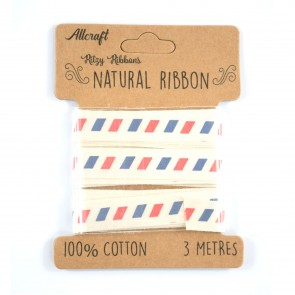 Cotton Ribbon 15mm Airmail (3 Metres)