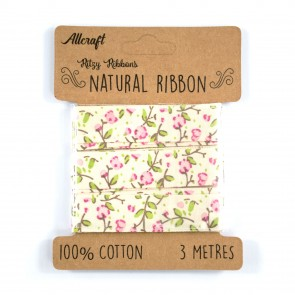 Cotton Ribbon 15mm Floral Pink (3 Metres)