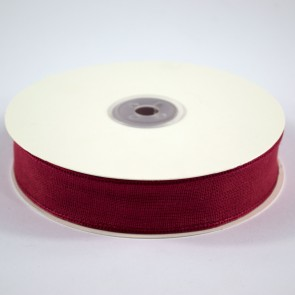 Faux Linen Ribbon 25mm Red (18 Metres)