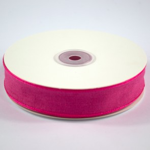 Faux Linen Ribbon 25mm Cerise (18 Metres)