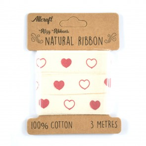 Cotton Ribbon 15mm Hearts (3 Metres)