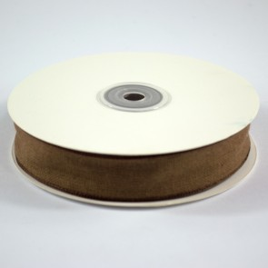 Faux Linen Ribbon 25mm Brown (18 Metres)