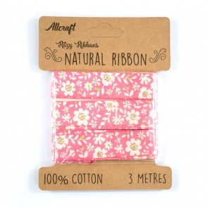 Cotton Ribbon 15mm Daisies Pink (3 Metres)