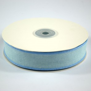 Faux Linen Ribbon 25mm Blue (18 Metres)