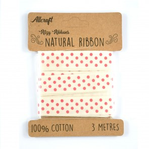Cotton Ribbon 15mm Polka Dots Red (3 Metres)