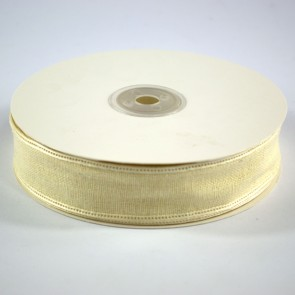 Faux Linen Ribbon 25mm Yellow (18 Metres)