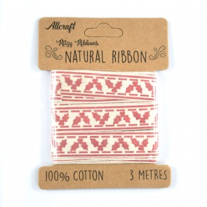 Cotton Ribbon 15mm Holly (3 Metres)