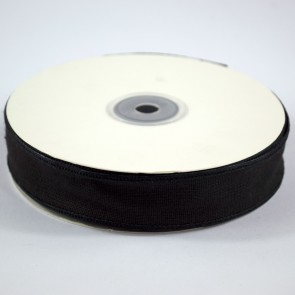 Faux Linen Ribbon 25mm Black (18 Metres)