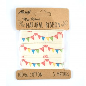Cotton Ribbon 15mm Colourful Bunting (3 Metres)