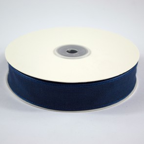 Faux Linen Ribbon 25mm Navy (18 Metres)