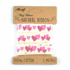 Cotton Ribbon 15mm Pink Hearts (3 Metres)