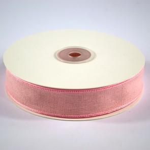 Faux Linen Ribbon 25mm Pink (18 Metres)