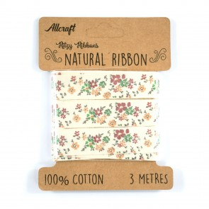 Cotton Ribbon 15mm Fancy Floral (3 Metres)