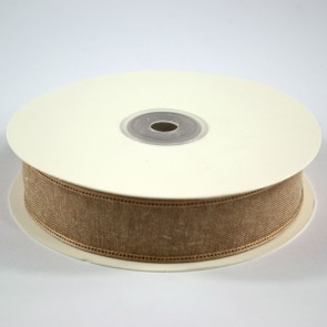 Faux Linen Ribbon 25mm Beige (18 Metres)
