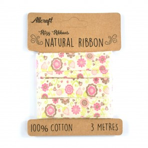 Cotton Ribbon 15mm Fun Flowers Pink (3 Metres)