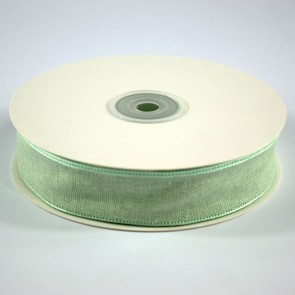 Faux Linen Ribbon 25mm Green (18 Metres)