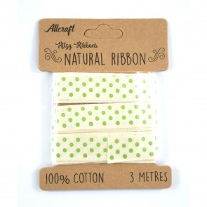 Cotton Ribbon 15mm Polka Dots Green (3 Metres)