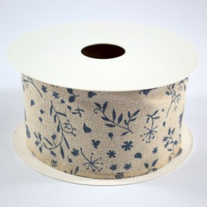 Linen Ribbon 60mm Blue Floral (9 Metres)