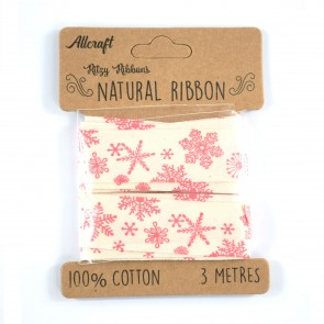 Cotton Ribbon 20mm Snowflakes (3 Metres)