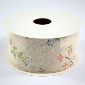 Linen Ribbon 60mm Plants (9 Metres)