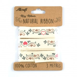 Cotton Ribbon 15mm Dove & Hearts (3 Metres)