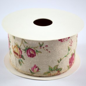 Linen Ribbon 60mm Vintage Floral (9 Metres)