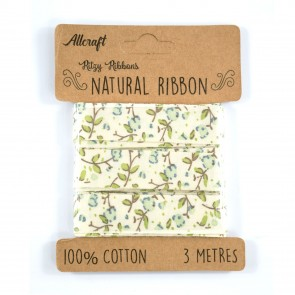 Cotton Ribbon 15mm Floral Blue (3 Metres)