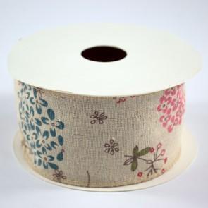 Linen Ribbon 60mm Dandelions (9 Metres)