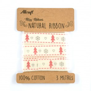 Cotton Ribbon 15mm Snowflakes & Trees (3 Metres)