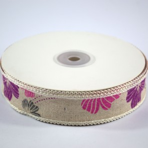 Linen Ribbon 25mm with Loop Edge Pink & Purple Floral (18 Metres)