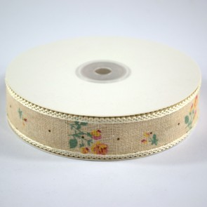 Linen Ribbon 25mm with Loop Edge Pink & Yellow Roses (18 Metres)