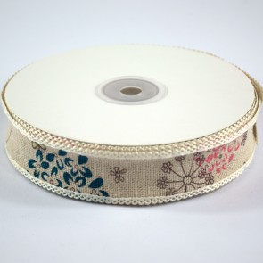 Linen Ribbon 25mm with Loop Edge Dandelions (18 Metres)