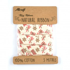Cotton Ribbon 15mm Presents (3 Metres)