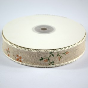 Linen Ribbon 25mm with Loop Edge Dotted Floral (18 Metres)