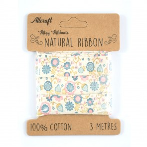Cotton Ribbon 15mm Fun Flowers Blue (3 Metres)